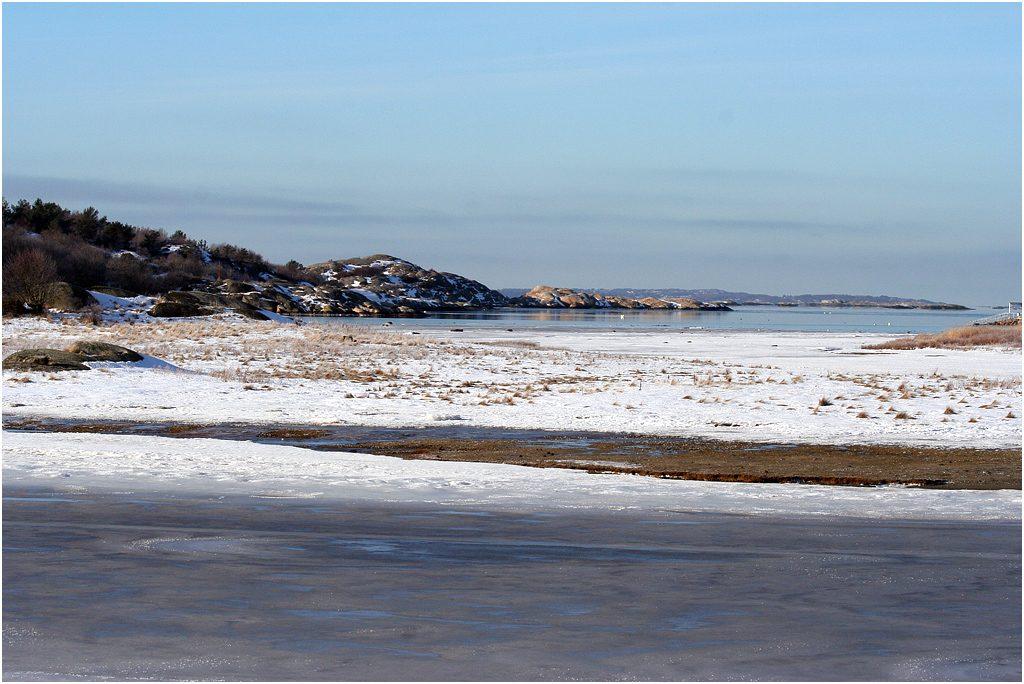 Vy över Norra Strandängen, Stora Amundö i Göteborg