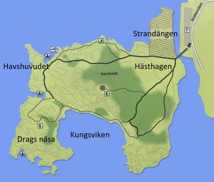 Karta över Stora Amundö söder om Göteborg